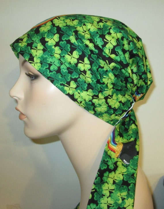 St Patrick's Day  Chemo Scarf, Hat, Cancer Hat, Hijab, Alopecia Turban