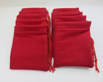 "Solid Red Flannel Cotton Hoo Doo / Mojo Bags / Jewelry Pouches 3.5"" wide x 4"" tall"