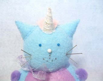 Cute felt unicorn, Unicorn cat pincushion, Blue and purple decor, Gift for cat lover, Sewing gift, Soft cat figure, Geeky gift, Rainbow cat