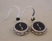 Typewriter Key Jewelry Earrings  PARENTHESES Vintage Typewriter Key Earrings Half MOON Earrings