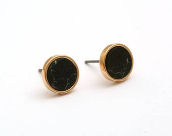 Black Imitation Marble Round Earring Post Finding  (EX203C)