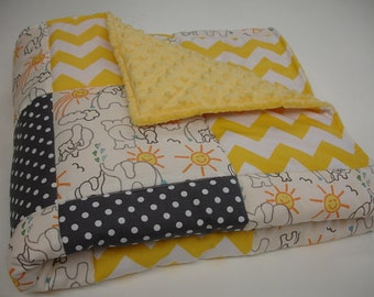 Elephants You Are My Sunshine Yellow and Charcoal Gray 3 Piece Baby Crib Bedding Set MADE TO ORDER Free Shipping