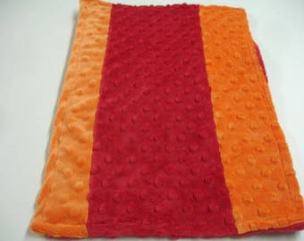 Orange and Red Double Sided Minky Burp Cloth  10 x 16 READY TO SHIP