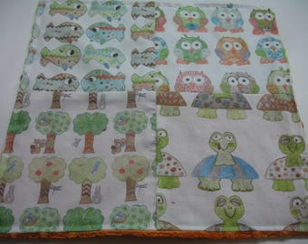 Over in the Meadow Four Square Baby Minky Burp Cloth 12 x 12 READY TO SHIP On Sale