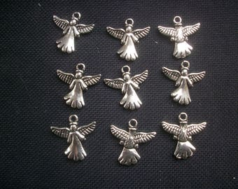10 Angel Charms Silver Tone