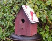 Rustic Birdhouse - Primitive Birdhouse - St. Louis Cardinals Birdhouse - Barnwood Birdhouse