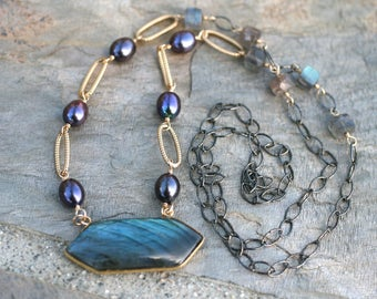 Labradorite Long Hexagon Gemstone Pendant, Purple Freshwater Pearl, 14KT Gold Filled Wire Wrapped Mixed Metal Necklace, Long 26 Inch  Length