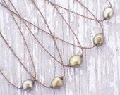 olive green freshwater pearl handspun rope necklace / waterproof / kid-proof / life-proof / island jewelry / minimalist beauty / tula blue