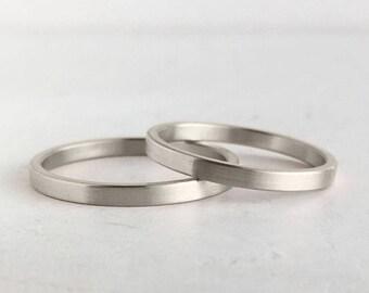 Brushed Finish White Gold Wedding Band Set | 2mm and 2mm x 1.3mm white gold rings | Rustic wedding bands 10k 14k 18k gold