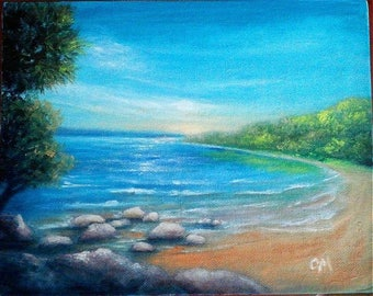 """Oil Painting Beach 8"""" x 10"""" READY to SHIP"""