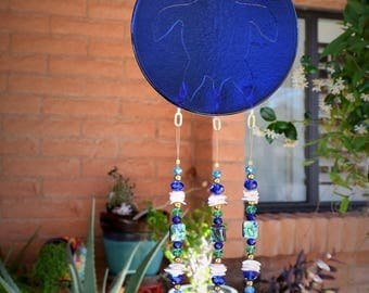 Windchime Sea Turtle Blue Stained Glass