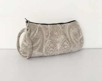 Pleated Wristlet Zipper Pouch // Clutch - Barker Gray Floral Embossed