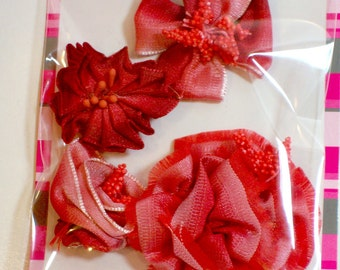 Red Rose Appliques, Offray Red Flower Appliques X 4 pieces, Ombre Floral Ribbon Flowers