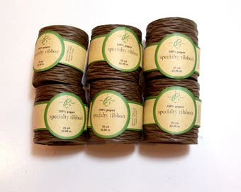 Brown Paper Ribbon, Brown Paper Ribbon 1 1/2 inches wide x 150 yards, Offray Chocolate Brown Bella Ribbon