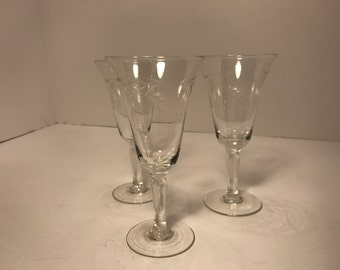 Vintage Etched Glass Wheat Cordial Stemware Set of 3 Bar Ware