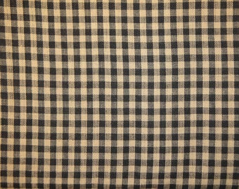 FLAWED Homespun Material Black Medium Check Cotton Fabric 31 x 44