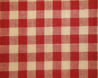 FLAWED Check Fabric | Large Check Fabric | Homespun Fabric | Red Large Check Fabric |  1/2 YARD FLAWED