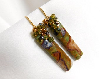 Rainforest Rhyolite Earrings - Green Earrings - Long Earrings - Green Apatite Earrings