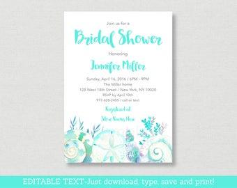 Nautical Beach Bridal Shower Invitation Invite Watercolor Seashells Editable PDF