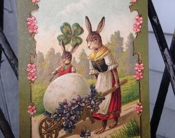 Vintage 1906 Easter Postcard with Bunny and Wheelbarrow