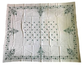1951 Hand Embroidered Linen Tablecloth (67x81) and 12 Napkins
