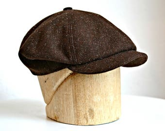 Men's Newsboy Cap in Vintage Brown Tweed - Made to Order in Your Size - 3 Weeks to Ship