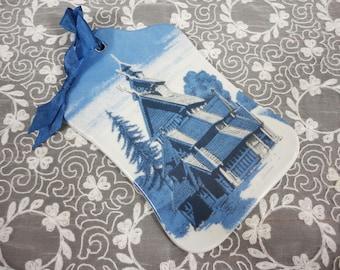 Wall Plaque of Norwegian Borgund Stave Church - Blue Tones - Ribbon Hanger