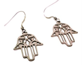 316L Stainless Steel Hamsa Charm Earrings- Sybolism Jewelry, Mothers Day Gift, Stainless Steel Jewelry for Women, Hand of Fatima, Talisman