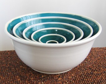 Ceramic Nesting Bowls in Peacock Blue/Green, Wedding Gift, Larger Set of Stoneware Pottery Serving Bowls, Stacking Bowls, Hand Thrown Bowls