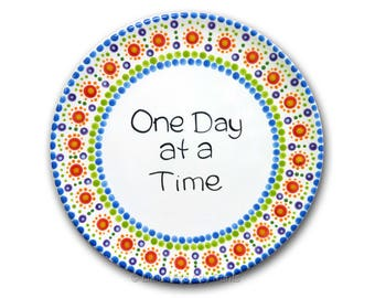 """One Day at a Time - AA/Al-Anon Recovery Mandala Plate - 8"""" plate"""