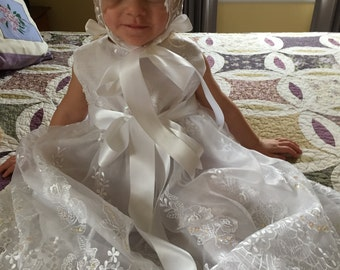 Abby, Christening Gown or Dress and Bonnet. 3-4 T One of a kind, Ready to ship.