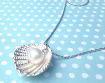 Seashell with Pearl Necklace Sterling Silver Artisan Jewelry Handmade Pendant