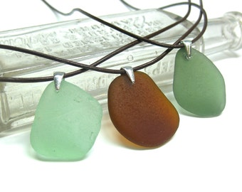 Long Leather Sea Glass Necklace | Beach Glass Necklace | Simple Sea Glass Necklace | Sterling Silver Necklace | Beachy Necklace