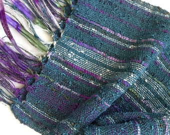 handwoven scarf pewter blue lightweight
