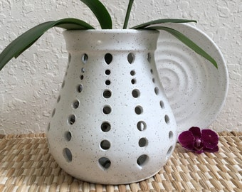 Ceramic Orchid Pot - Planter - Wheel Thrown Pottery - Home Decor - White Orchid Pot