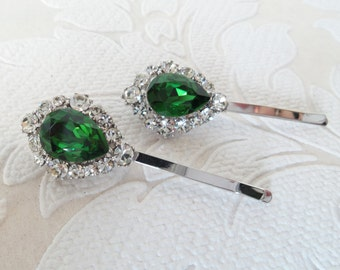 Forest Green Bridal Hair Pins with Swarovski Crystal on Strong Bobby Pin for Vintage Art Deco Hair Style or Victorian Wedding Headpiece