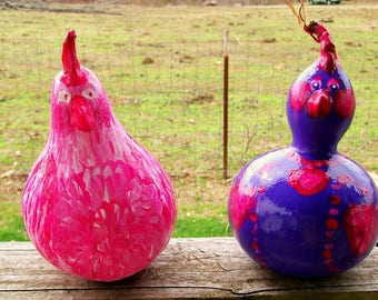 Sister Chicks Hand Painted Gourd Ornaments
