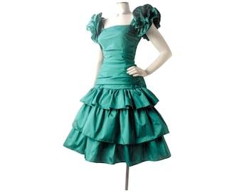 Vintage 80s Dress - 80s Prom Dress - Green Prom Dress - Vintage Prom Dress - Flounced Dress - Taffeta Dress - 80s Party Dress - Teal Green