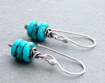 December Birthstone Earrings, Genuine Turquoise Stones, Turquoise Earrings, Birthstone Jewelry, Sterling Silver, Earrings for Women, #4638