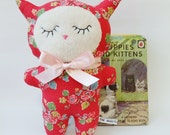 Cat Plush in Retro Red Floral Cotton Duck Fabric, Red Flowery Soft Toy Retro Kitten