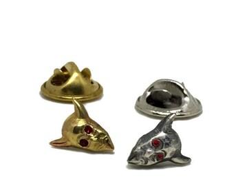 Diminutive Devils, Tie Tack Pin, Brass or Silver, Swarovski Crystals, Devil Head Pin, Small Devil Pin, Little Pin, Small Lapel Pin