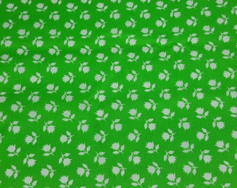 vintage 70s cotton fabric, featuring cute green and white floral print, 1 yard, 4 available, priced per yard
