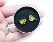 Bird Studs, Green Bird Earrings, Wooden Earrings, Wooden Jewellery, Bird Gifts For Her, Quirky Earrings, Nature Earrings