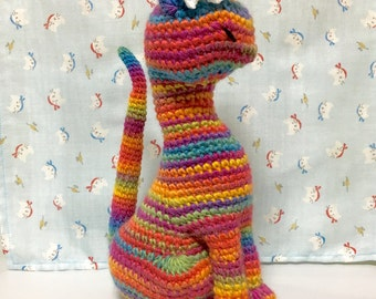 Amigurumi Cat / Crocheted Cat --- Classy Cat - Colorful (NORO Yarn)