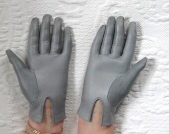 grey Kid Leather Gloves . kid gloves . grey leather gloves