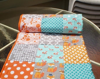 Baby quilt, fox baby quilt, baby boy bedding, baby girl quilt, rustic, woodland, crib, fox, orange, grey, teal, chevron, toddler-Fox Whimsy