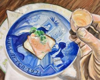 Wall Art -  Original Painting - Skol- A Toast from Denmark - Akvavit from an Eggshell - Leah Reynolds