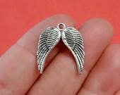 10, Angel Wing Charms 9x21x1mm, Hole: 1.5mm