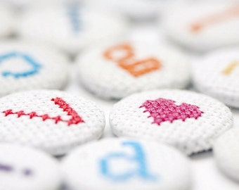 Cross Stitch Number Pin Badge