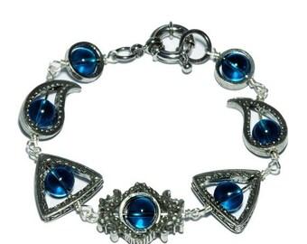 HAPPY HOLIDAYS SALE - Neo Victorian Jewelry - Bracelet - Zircon blue